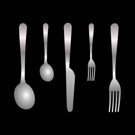 Set of realistic grey fork, spoon and knife icons isolated on black background. Vector Illustration for cutlery symbols.