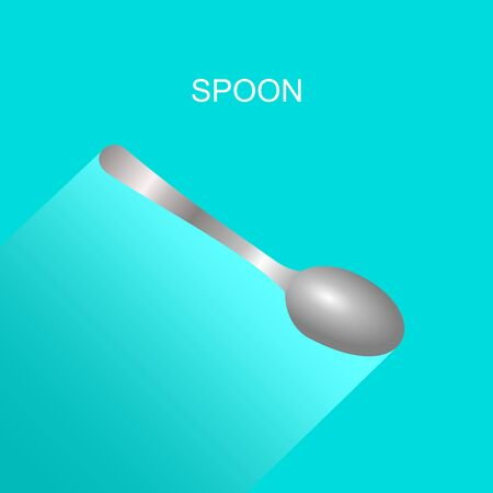 Realistic grey spoon icon with long shadow on blue background. Vector Illustration for cutlery symbol.
