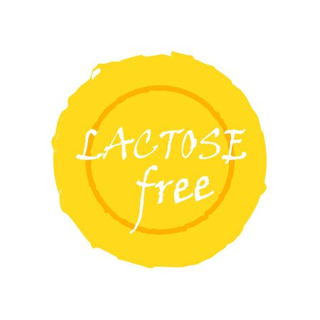 Lactose free - natural organic food without lactose. Vector vintage illustration on circle sticker.