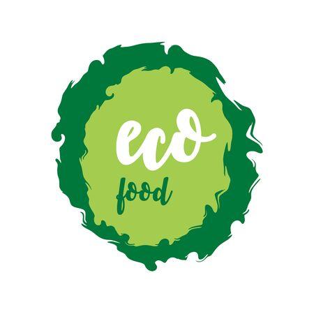 ECO food green labels. Vector vintage illustration on circle sticker. Stok Fotoğraf - 133414638