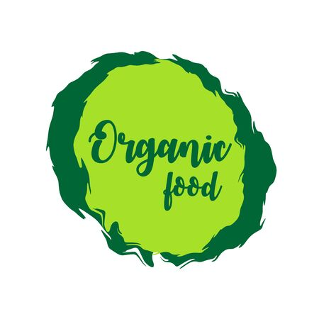 Organic food green labels. Vector vintage illustration on circle sticker.