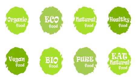 Set of different organic food green labels. Vector vintage illustration on green circle sticker.