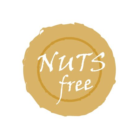Nuts free - natural organic food without nuts. Vector vintage illustration on circle sticker.