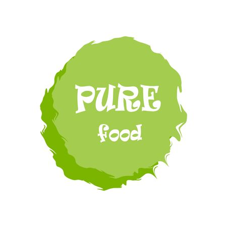 Pure food green labels. Vector vintage illustration on circle sticker. Çizim