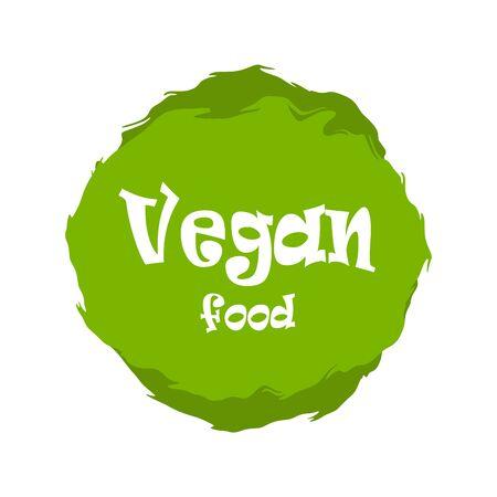 Vegan food green labels. Vector vintage illustration on circle sticker. Stok Fotoğraf - 133414646