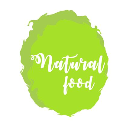 Natural food green labels. Vector vintage illustration on circle sticker. Stok Fotoğraf - 133414649
