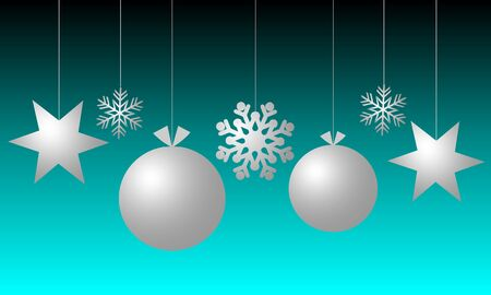 Christmas background with silver balls, stars and snowflake on blue and black background. Merry Christmas and Happy New Year. Foto de archivo - 133414691