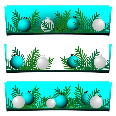 Set of three Christmas banners with balls and fir branches. Vector graphic illustration.