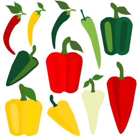 Set icons of paprika. Vector clipart of eco vegetables.