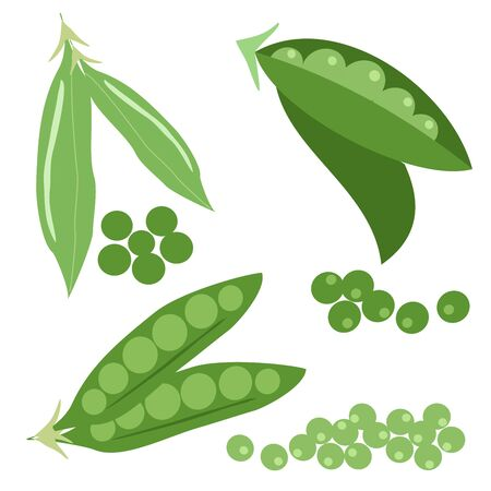 Set icons of peas. Vector clipart of eco vegetables. Vettoriali