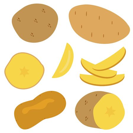 Set icons of potatos. Vector clipart of eco vegetables. Çizim