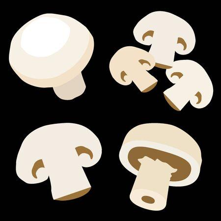 Set icons of champignon. Vector clipart of eco vegetables. Иллюстрация
