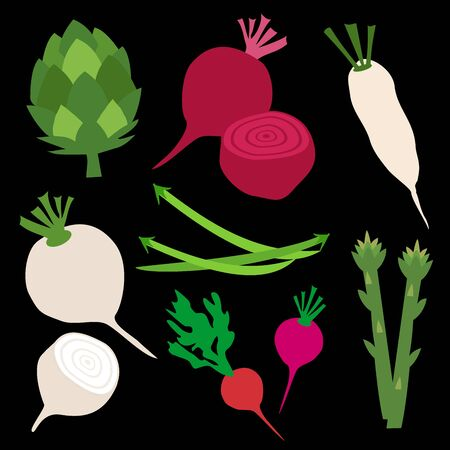 Collection of organic vegetables on black background. Vector clipart of eco vegetables.