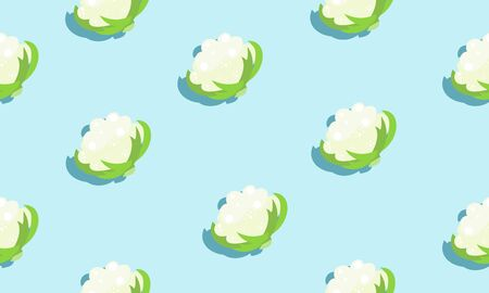 Seamless blue background with cauliflower heads  with shadow. Vector vegetables illustration design for template. Illustration