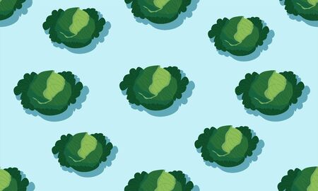 Seamless blue background with kale heads with shadow. Vector vegetables illustration design for template.