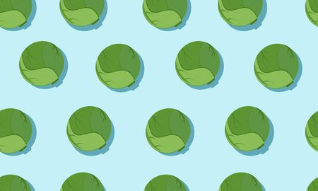 Seamless blue background with brussels sprout with shadow. Vector vegetables illustration design for template.