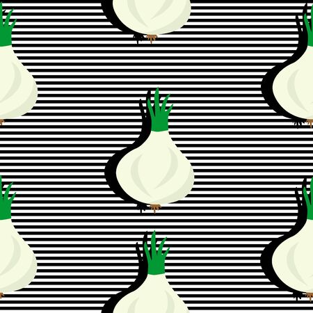Seamless background with stripes and onion heads with dark shadow. Vector illustration design for template. Illustration