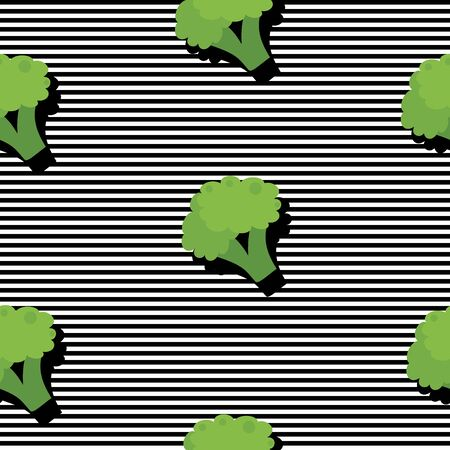 Seamless background with stripes and broccoli with dark shadow. Vector illustration design for template.