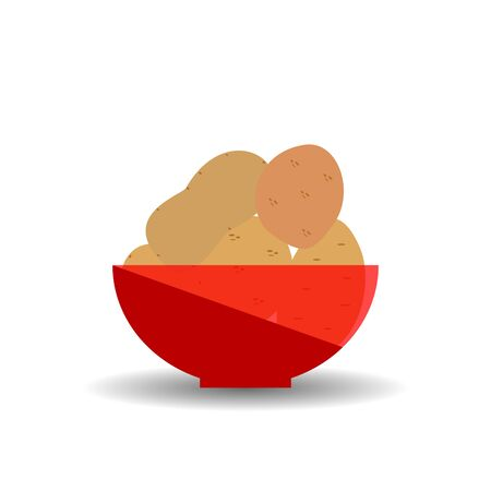 Potatos in a red transparent bowl. Vector graphic illustration with shadow.