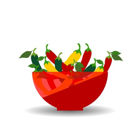 Hot peppers of different colors in a red transparent bowl. Vector graphic illustration with shadow.  イラスト・ベクター素材