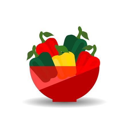 Peppers of different colors in a red transparent bowl. Vector graphic illustration with shadow.