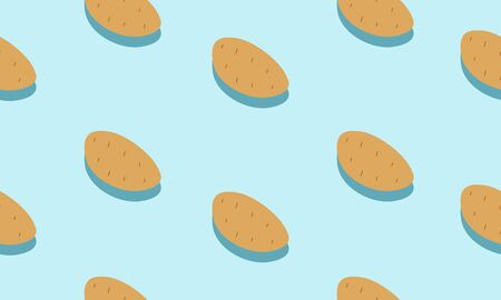 Seamless blue background with potatoes with shadow. Vector  illustration design with vegetables for template.