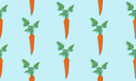 Seamless blue background with carrots with leaves and shade. Vector  illustration design with vegetables for template.