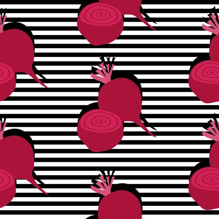 Seamless background with stripes and beetroots with dark shadow. Vector illustration design for template.