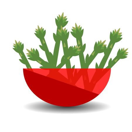 Asparagus in a red transparent bowl. Vector graphic illustration with shadow. Çizim