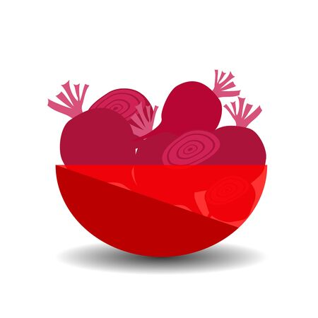 Beetroots in a red transparent bowl. Vector graphic illustration with shadow.