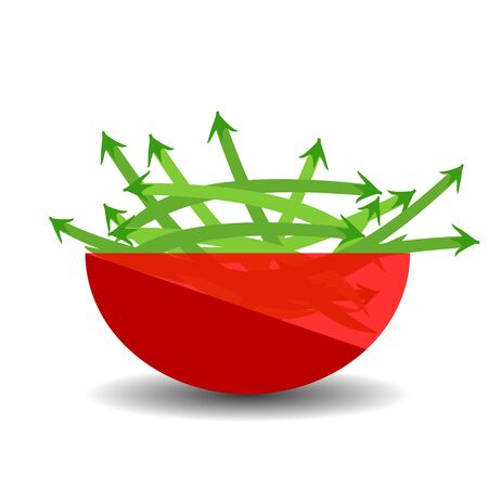 Green beans  in a red transparent bowl. Vector graphic illustration with shadow.