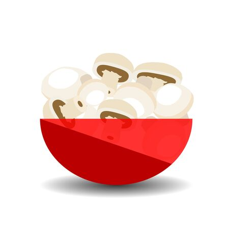 Mushrooms in a red transparent bowl. Vector graphic illustration with shadow.