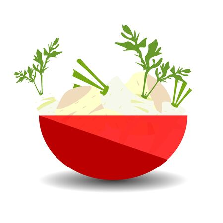 Parsley and celery in a red transparent bowl. Vector graphic illustration with shadow.