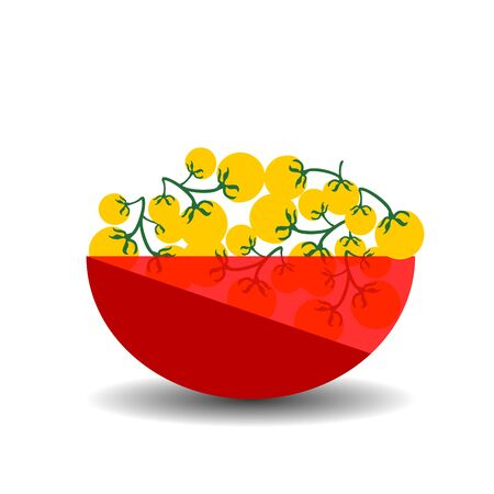 Yellow cherry tomatoes in a red transparent bowl. Vector graphic illustration with shadow.