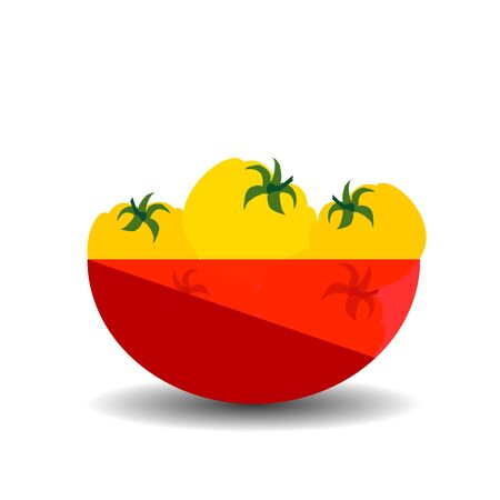 Yellow tomatoes in a red transparent bowl. Vector graphic illustration with shadow.