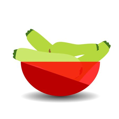 Zucchini in a red transparent bowl. Vector graphic illustration with shadow.