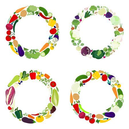 Set of four icons vegetables in the circle. Vector flat design template.