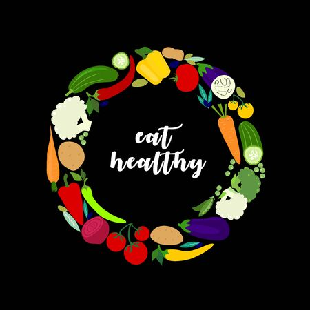 Vegetables on circle with black background. Eat healthy food. Vector icon flat illustration.