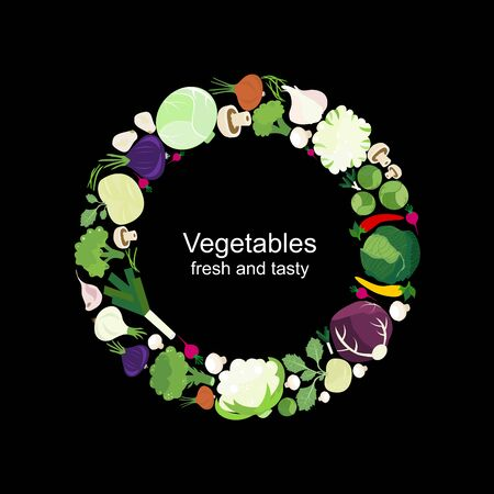 Vegetables on circle with black background. Vegetables fresh and tasty food. Vector icon flat illustration.