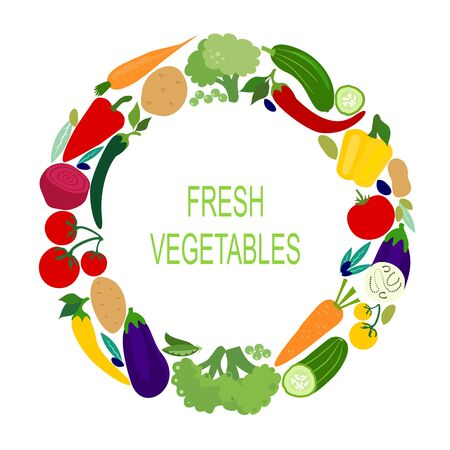 Fresh vegetables in the circle. Vector flat design template. Icon of food, farm, gardening or  horticulture.