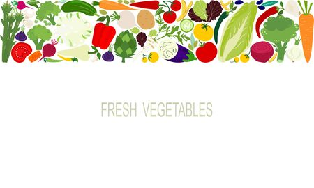 Vector fresh vegetables food template suitable for banners, magazines, websites, restaurants, cooking and menus. Healthy eating with vegetables for a healthy lifestyle.