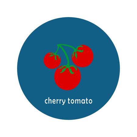Vector cherry tomato icon isolated on white background.  Flat blue circle icon with vegetable. Healthy food.