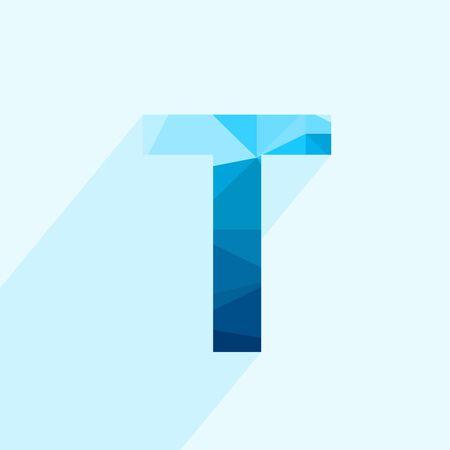 Letra de polígono vector azul T con sombra. Ilustración abstracta de baja poli de diseño plano.