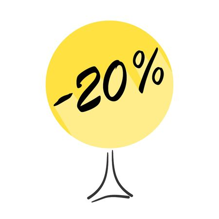 Tree with discount of 20 percent on shopping. Concept  for sale design. Vector badges for labels, stickers, banners or tags of new offer.