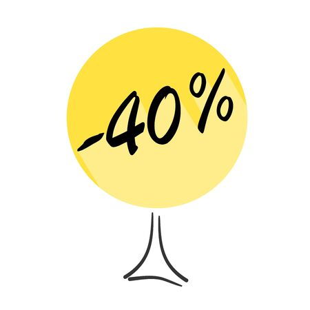 Tree with discount of 40 percent on shopping. Concept  for sale design. Vector badges for labels, stickers, banners or tags of new offer. Çizim
