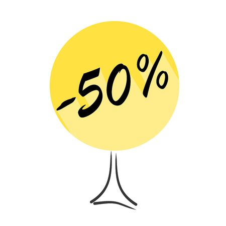 Tree with discount of 50 percent on shopping. Concept  for sale design. Vector badges for labels, stickers, banners or tags of new offer.