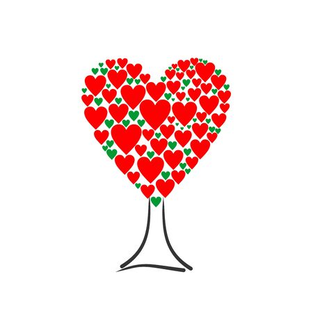 Love tree with heart leaves. Color hearts tree vector background.