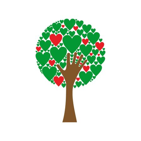 Hand forming a love tree with heart leaves. Red and green hearts tree vector background.