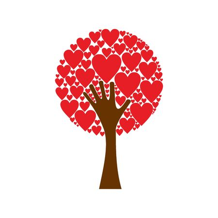 Hand forming a love tree with heart leaves. Red hearts tree vector background.