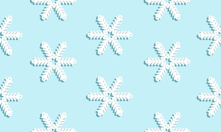 Blue seamless winter pattern with white snowflakes with a dark blue shadow. Vector graphic illustration for Merry Christmas and Happy New Year.
